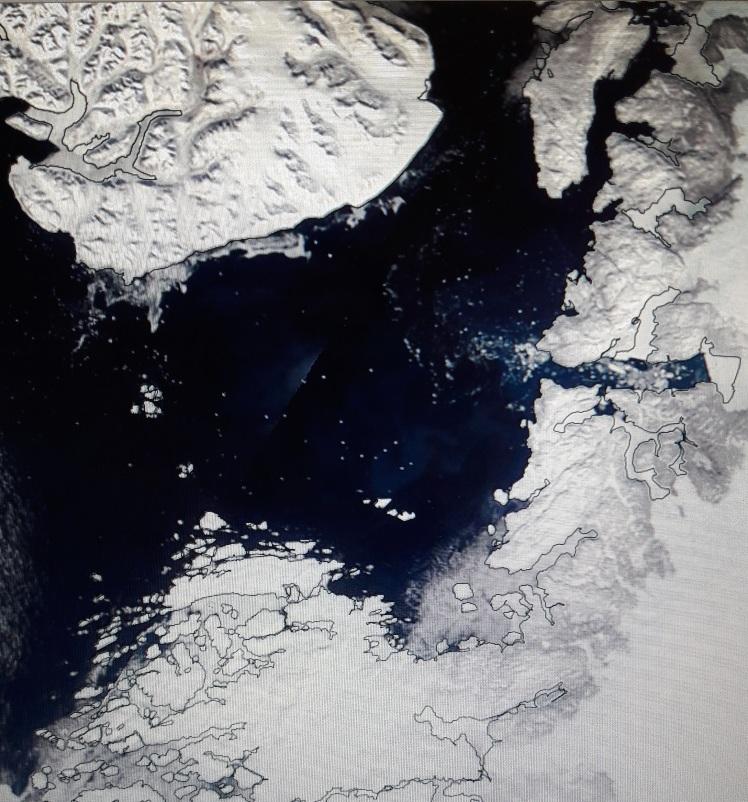 image satellite de la baie de Disko